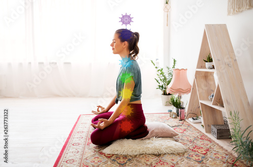 Fotografie, Obraz  mindfulness, spirituality and healthy lifestyle concept - woman meditating in lo
