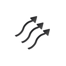 Wavy Up Arrows, Upward Curvy Arrows. Heat Arrows, Steam Moving Up. Vector Illustration Isolated On White Background.