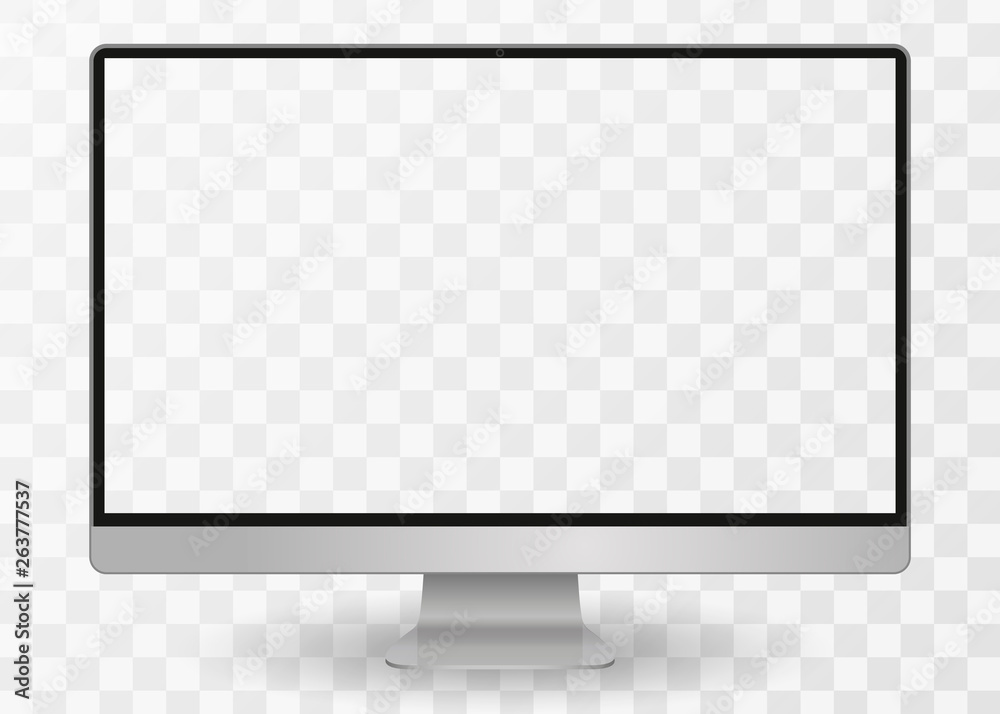 Fototapeta desktop pc vector mocup. monitor display with blank screen isolated on background. Vector illustration