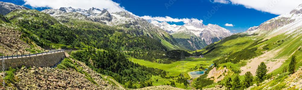 Fototapety, obrazy: Mountain road to Albula pass - Swiss mountain pass near Sankt Moritz in the canton of Graubunden. Switzerland