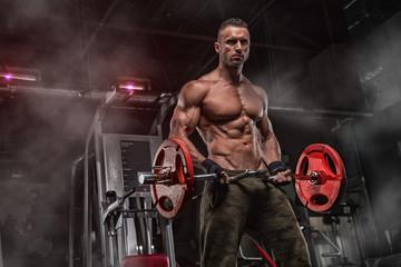 Fototapeta na wymiar Attractive tall muscular bodybuilder doing heavy deadlifts in moder fitness center.