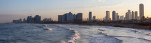 Panoramic View Of A Modern Downtown City On The Mediterranean Sea During A Colorful Sunrise. Taken In Jaffa, Tel Aviv-Yafo, Israel,