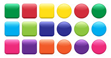 Colorful Set Of Buttons, Squar...