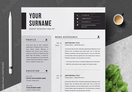 Black and White Resume and Cover Letter Layout. Buy this ...