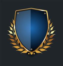 Golden Shield And Laurel Wreath Retro Design
