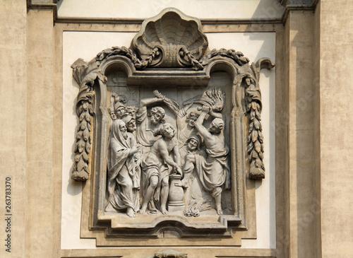 Cristo flagellato; altorilievo in facciata della chiesa di Santa Maria della Pas Billede på lærred