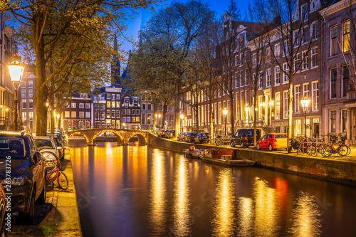 Night view of Amsterdam channels, Netherlands Canvas Print