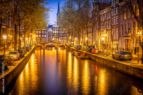 Night view of Amsterdam channels, Netherlands Wallpaper Mural