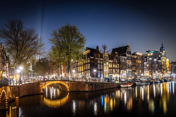 Panel Szklany Mosty Night view of Leidsegracht bridge in Amsterdam, Netherlands