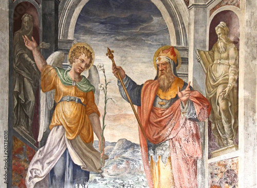 un Angelo e un Re o Profeta; affresco nella chiesa di Santa Maria della Passione Canvas Print