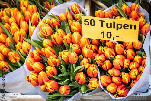 Photo  Flower market of Bloemenmarkt in Amsterdam, Netherlands