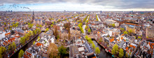 Aerial View Of Amsterdam Canal...