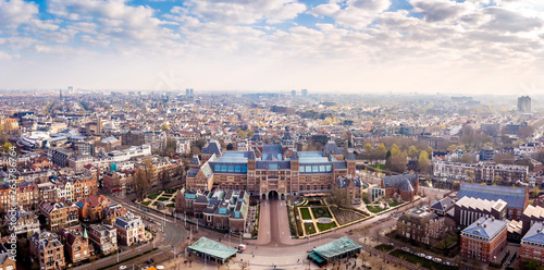 Aerial view of Rijksmuseum in Amsterdam in the morning, Netherlands Wallpaper Mural