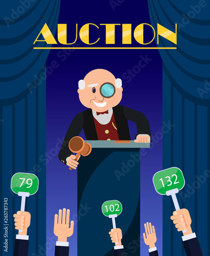 Old Man Auctioneer with Hammer Selling to Bidders. Wallpaper Mural
