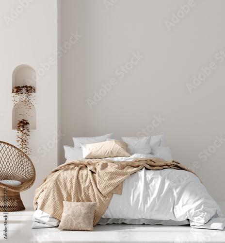 Wall mock up in Scandinavian interior background, 3d render