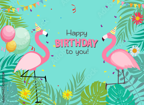 Fototapety, obrazy: Birthday Card, Congratulation Template Vector Illustration