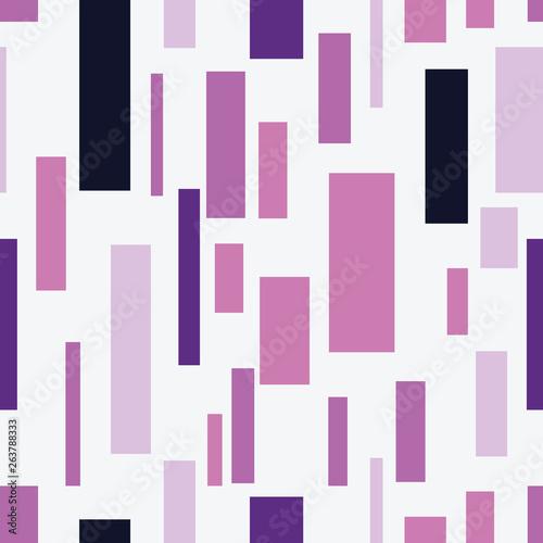 Obraz Modern geometric purple rectangles on white background seamless pattern. - fototapety do salonu