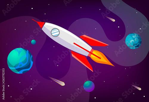 Foto op Canvas Kosmos Cartoon vector illustration galaxy with rocket. Vector background galaxy