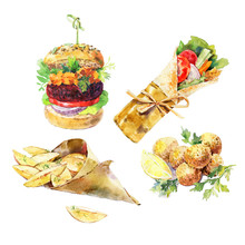 Vegan Burger, Sawarma, Falafel, Backed Potato Watercolor Isolated On White Background. Vegan Street Food. Hand Painted Realistic Watercolor Illustration.