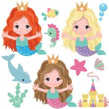 Mermaid Vector Cartoon Illustr...