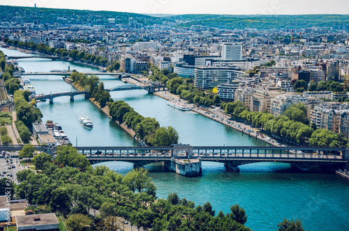 In de dag Historisch geb. Paris aerial cityscape, Pont de Bir Hakeim crossing Seine river, Paris, France
