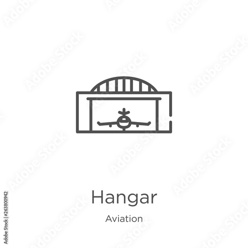 Fototapeta hangar icon vector from aviation collection. Thin line hangar outline icon vector illustration. Outline, thin line hangar icon for website design and mobile, app development. obraz