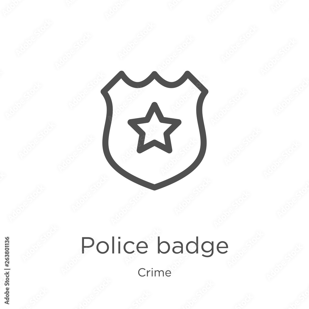 Fotografie, Obraz police badge icon vector from crime collection