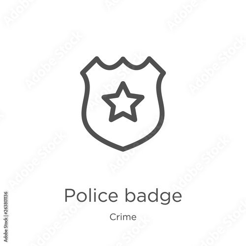Fototapeta police badge icon vector from crime collection