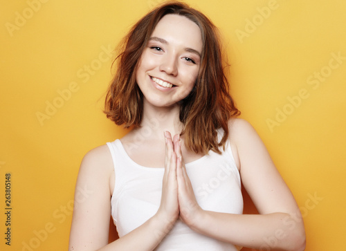 Fototapety, obrazy: Portrait of young positive female with cheerful expression