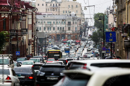 New York TAXI Road traffic of the city of Vladivostok. Traffic jam on the main street of Vladivostok - Svetlanskaya.