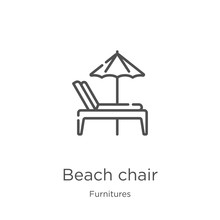 Beach Chair Icon Vector From Furnitures Collection. Thin Line Beach Chair Outline Icon Vector Illustration. Outline, Thin Line Beach Chair Icon For Website Design And Mobile, App Development.