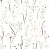 Akwarela ręcznie rysowane wzór z suchych ziół, brązowy las podłogi - 263811382
