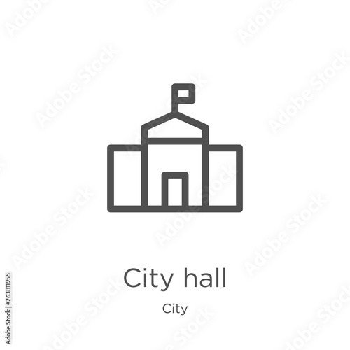 Fotomural city hall icon vector from city collection