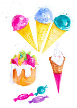 Set Of Different Ice Cream,can...