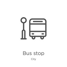 Bus Stop Icon Vector From City Collection. Thin Line Bus Stop Outline Icon Vector Illustration. Outline, Thin Line Bus Stop Icon For Website Design And Mobile, App Development.
