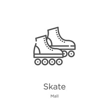 Skate Icon Vector From Mall Collection. Thin Line Skate Outline Icon Vector Illustration. Outline, Thin Line Skate Icon For Website Design And Mobile, App Development.