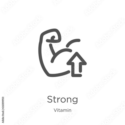 Fototapeta strong icon vector from vitamin collection. Thin line strong outline icon vector illustration. Outline, thin line strong icon for website design and mobile, app development. obraz