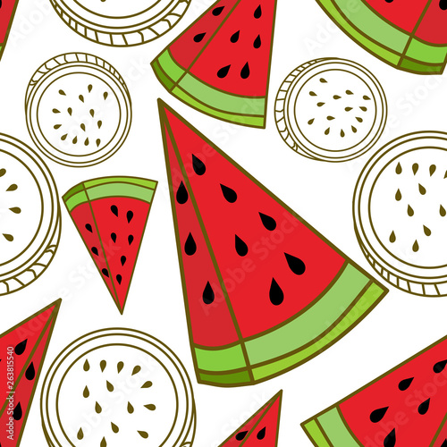 Foto op Canvas Draw Watermelon Fruit Pattern Seamless Vector Template