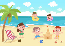 Children Playing On The Beach Vector Illustration