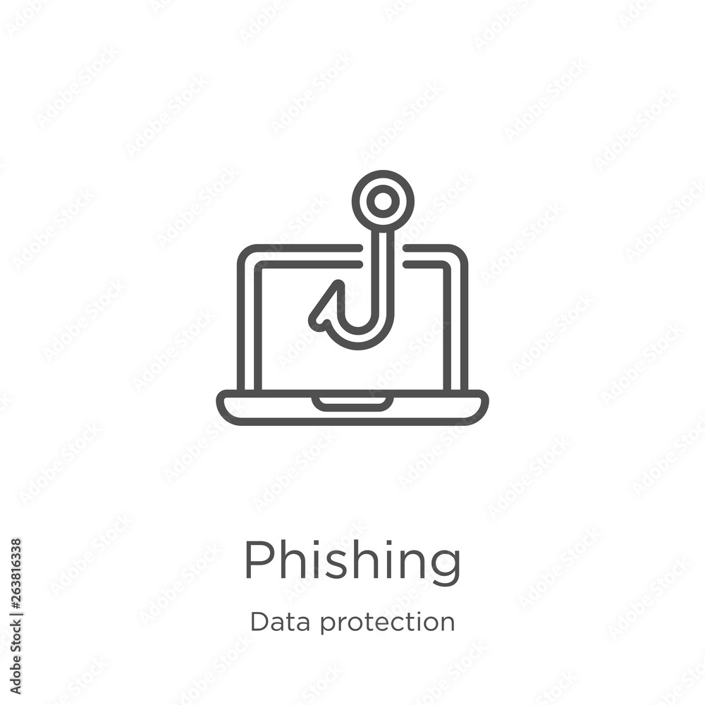 Fototapeta phishing icon vector from data protection collection. Thin line phishing outline icon vector illustration. Outline, thin line phishing icon for website design and mobile, app development.