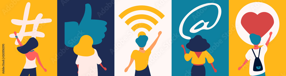 Fototapeta Social media concept: digital app symbols for bloggers and influencers sharing with audience. Flat vector hashtag sign, like, wireless network. E-Marketing, followers and social network idea.