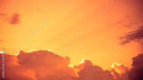 Poster Brick Orange sky, sunset sky Beautiful sky background for graphic work