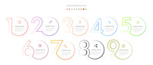 Vector Infographic Design UI Template Colorful Gradient 9 Number Labels And Icons