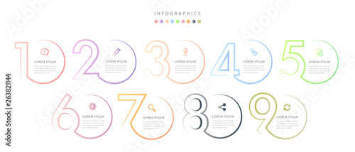 Fototapeta Vector infographic design UI template colorful gradient 9 number labels and icon