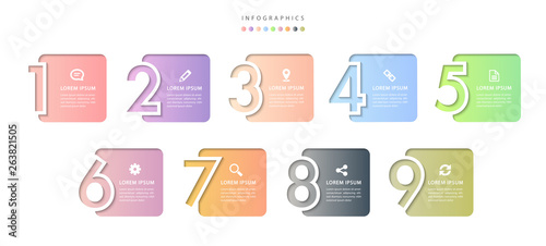 Obraz na plátně Vector infographic design UI template colorful gradient 9 relief number labels a