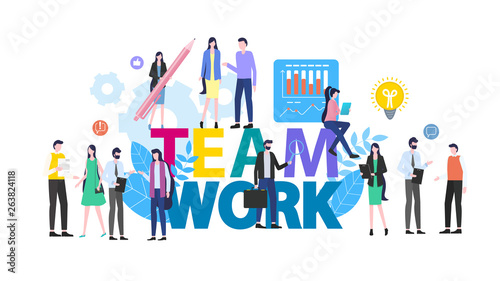 Teamwork Cartoon People Man Woman Office Worker Wallpaper Mural