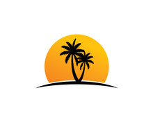 Palm Trees Silhouette With Sunset Background