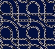 Vector Seamless Background With Marine Rope. Nautic Pattern Dark Blue And Gold