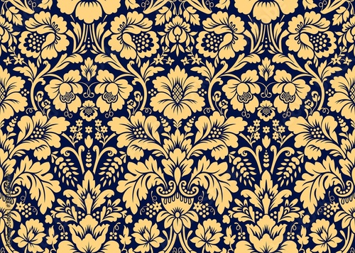 Canvas Print Vector seamless damask gold patterns