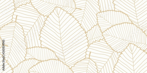 fototapeta na szkło Vector seamless Leafs pattern white and gold
